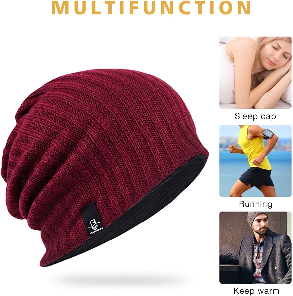 Mens Oversize Slouch Beanie Skull Cap Winter Warm Hat