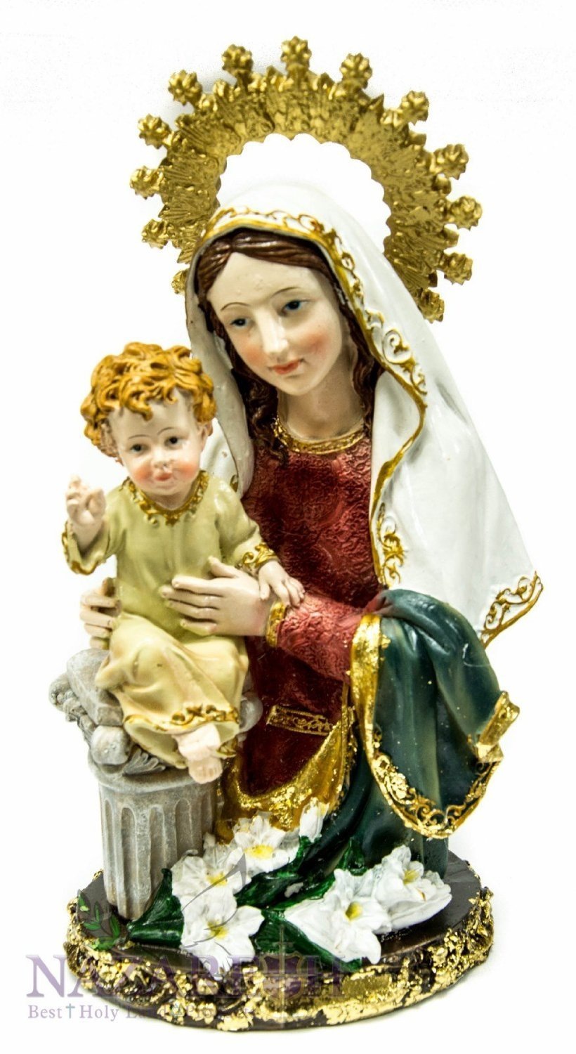 Blessed Virgin Mary with Infant Jesus Figurine Hand Painted Holyland Statue by Holy Land Gifts
