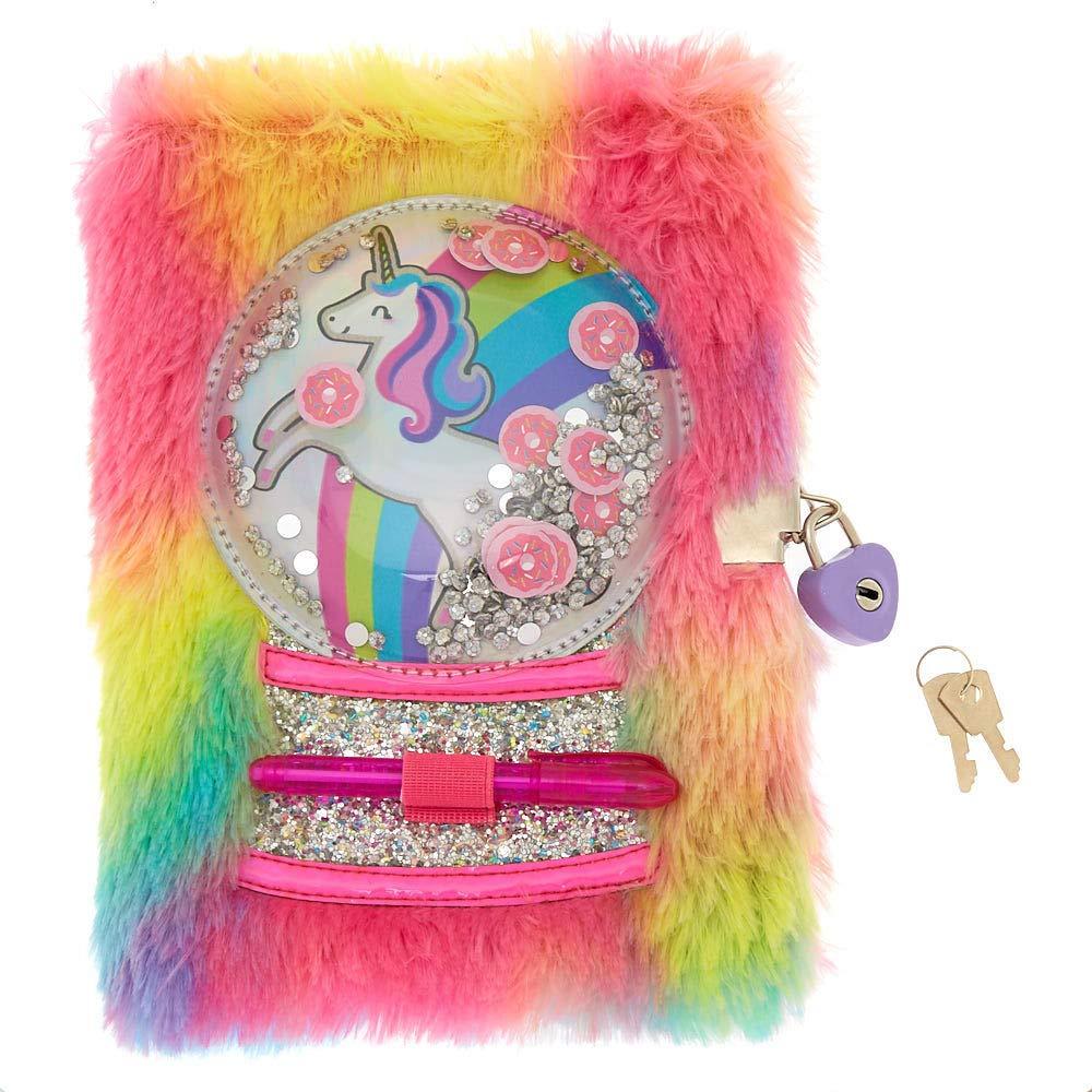 Claires Girls Miss Glitter the Unicorn Snowglobe Water Bottle Pink Rainbow
