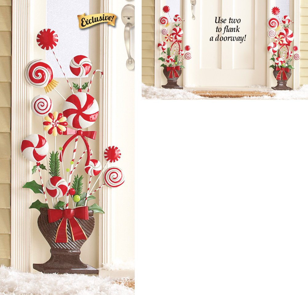 Amazon.com : Peppermint Candy Cane Topiary Wall Decoration ...