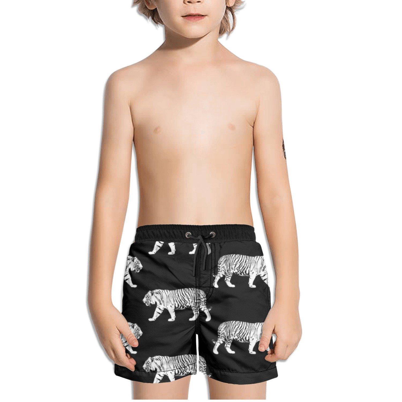 Ouxioaz Boys Swim Trunk Black and White Tiger Beach Board Shorts