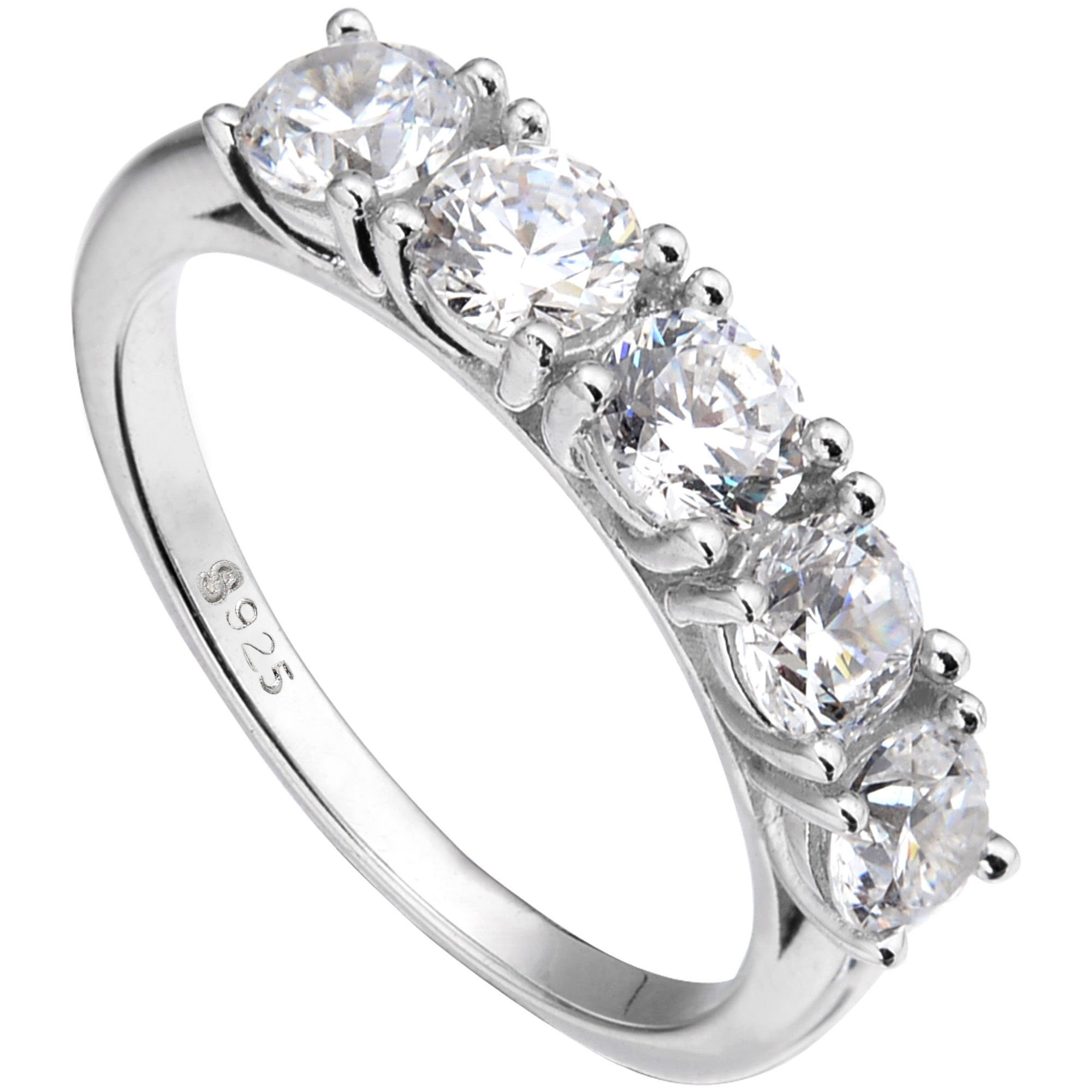 EVER FAITH 925 Sterling Silver Prong Round CZ Half Eternity Engagement Bride Ring Clear - Size 7