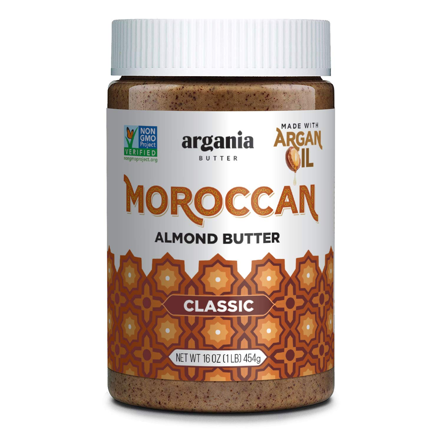 Argania Butter Classic Almond Butter With Superfood Organic Edible Argan Oil - Vegan , Kosher, Non GMO, No Palm Oil, No Peanuts, Keto Friendly, Low Carb. 16 Ounces (Classic Almond Butter)