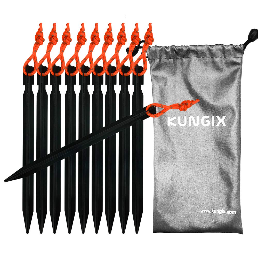 7 Aluminium Tent Stakes Lightweight with Reflective Rope 10-Piece KUNGIX Tent Stakes