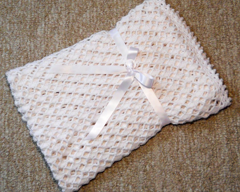 Lacy White Crocheted Baby Christening Blanket by Custombearhug 36 by 43 Inches