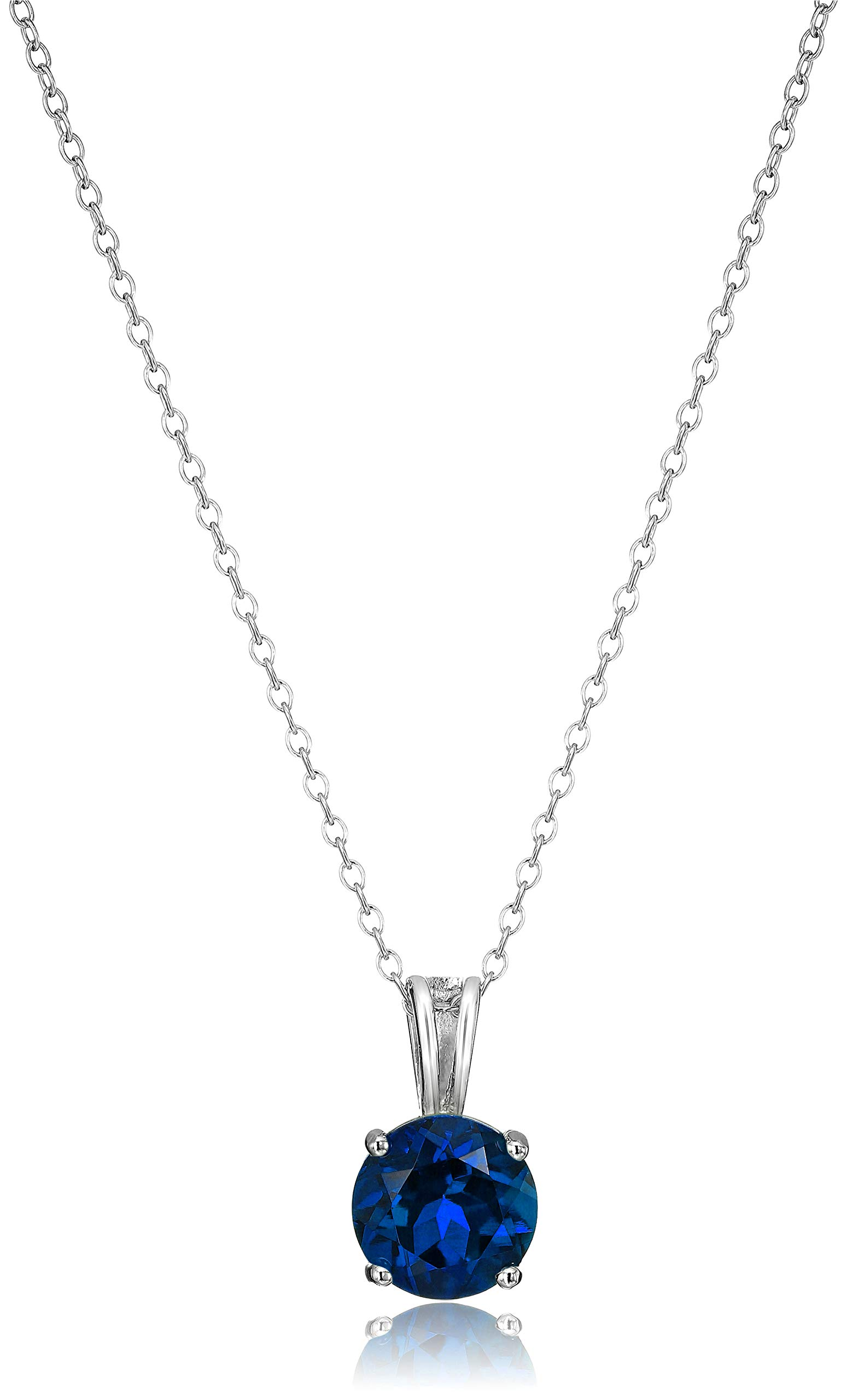 Amazon Essentials Sterling Silver Round Cut Created Blue Sapphire Birthstone Pendant Necklace (September), 18'' by Amazon Essentials