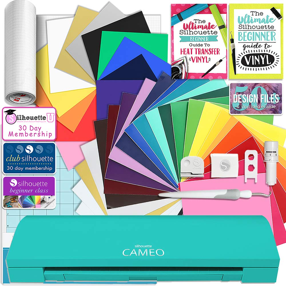 24 Oracal 651 Sheets and 12 Siser Easyweed Heat Transfer Sheets Silhouette Teal Cameo 3 Creative Bundle with Bluetooth