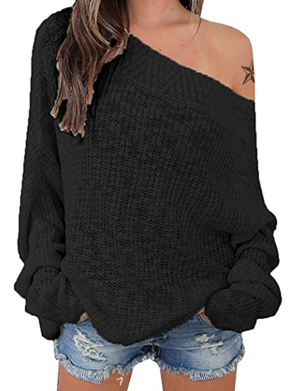 Exlura Women's Off Shoulder Batwing Sleeve Loose Oversized Pullover Sweater Knit Jumper - Black, XL/2XL(14/16) by Exlura