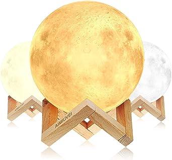 Lámpara de Luna 3D, AIMIUVEI Luz Nocturna Luna LED Lampara Luna ...