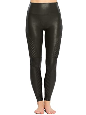 Black leather quilted leggings