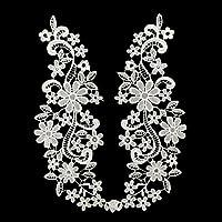 Westeng 1 paire Femmes Broderie Patchs en dentelle Motif Fleurs Coudre Correctifs Appliques Écusson Brodé Patch pour DIY Autocollant Vêtement 29*10cm