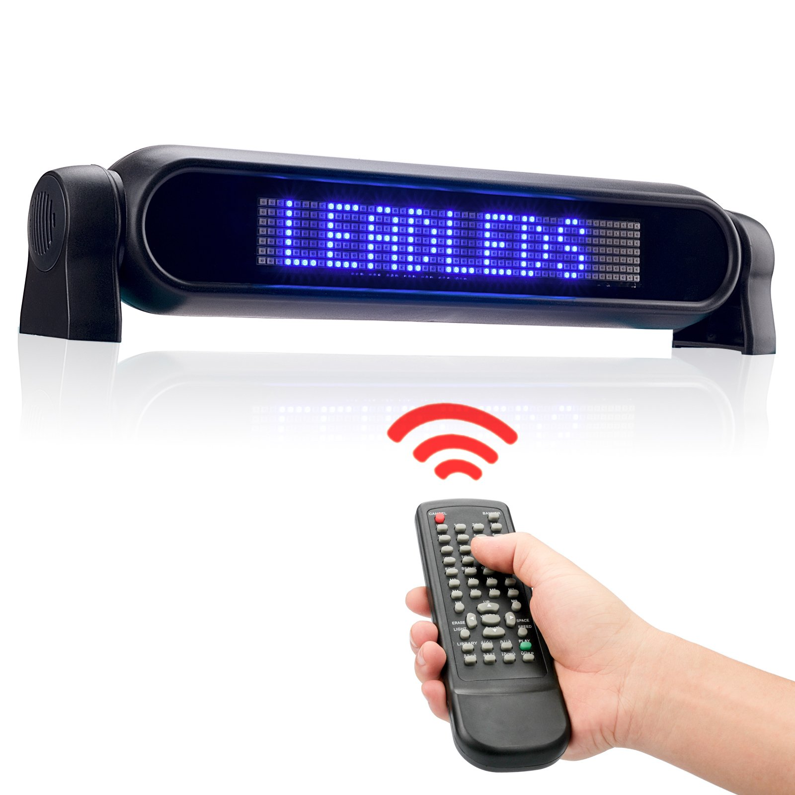 Leadleds Dc12v Led Car Rear Window Sign Board Scrolling Blue Message Display Board Led Banner with Remote Controller and Cigar Lighter - Fast Programmable