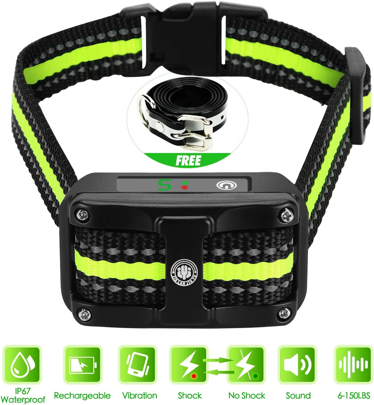Bark Collar Newest 2019 Upgraded Rechargeable Shock Training Collar with IP67 Waterproof and Smart Detection Module w Triple Anti Barking Modes Beep Vibration Shock for Small Medium Large Dogs