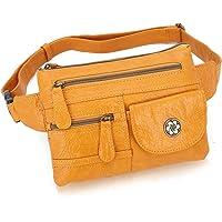Angel Barcelo Leather Waist Pack Fanny Pack Hip Purse Travel Hiking Bum Bag Belt Bag for Men Women Ladies Brown