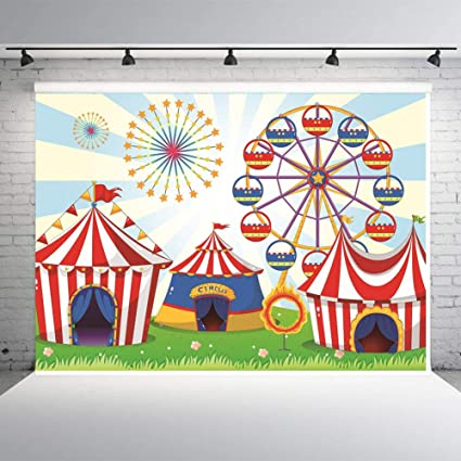 Art Studio 7x5ft Photo Background Circus Carnival Theme Party Decor Supplies Ferris Wheel Backdrops Kids Birthday Studio Props Booth Vinyl