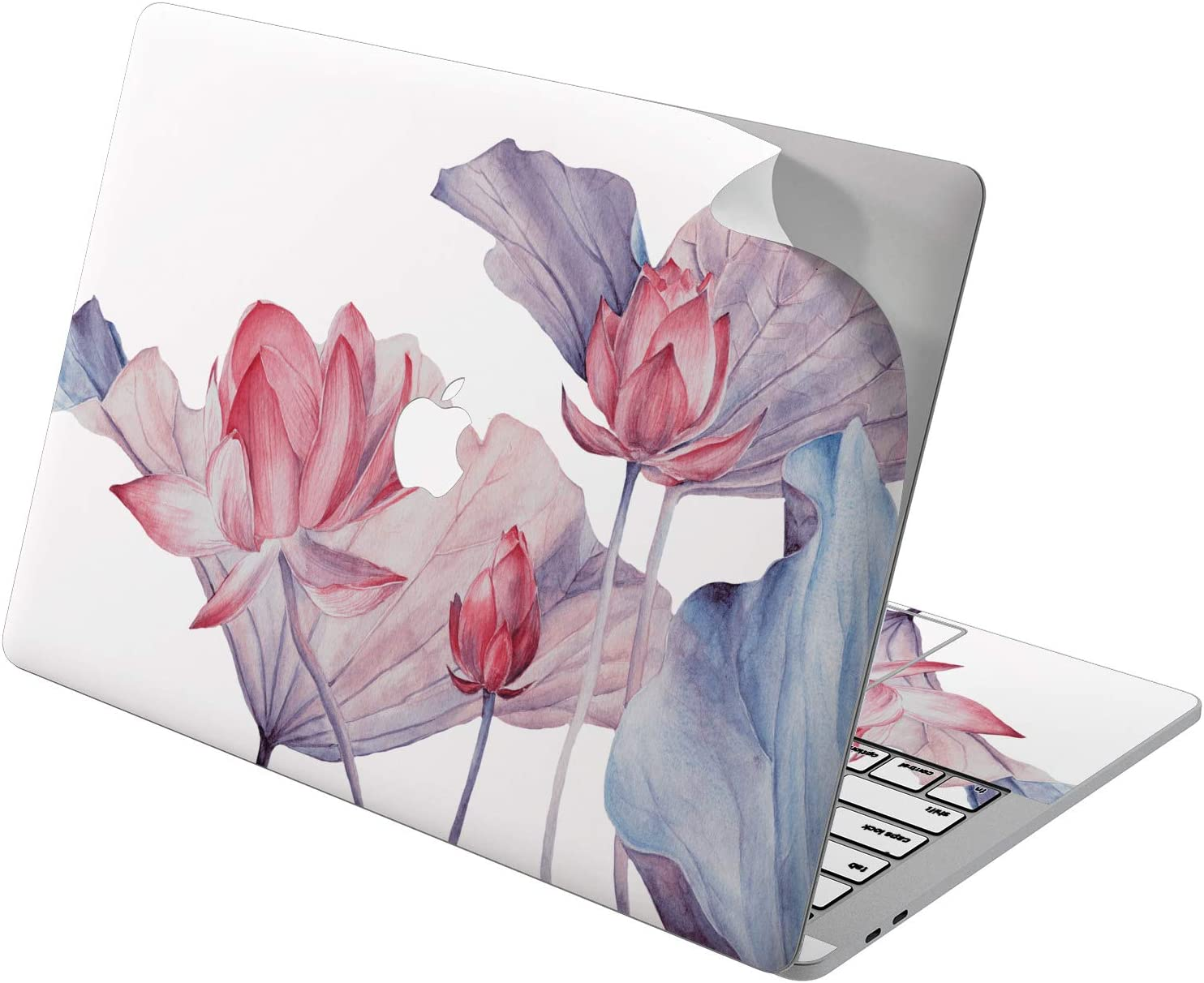 "Cavka Vinyl Decal Skin for Apple MacBook Pro 13"" 2019 15"" 2018 Air 13"" 2020 Retina 2015 Mac 11"" Mac 12"" Print Floral Lily Laptop Cover Water Protective Tender Beautiful Flowers Lotus Sticker Design"