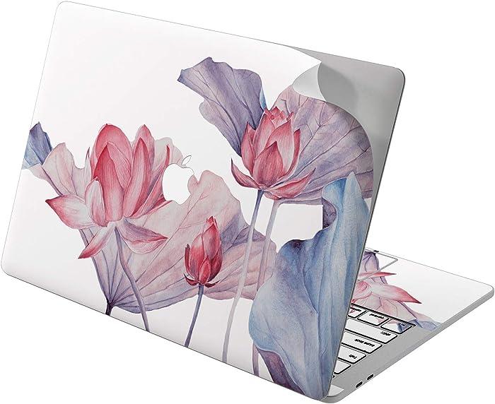 "Cavka Vinyl Decal Skin for Apple MacBook Pro 13"" 2019 15"" 2018 Air 13"" 2020 Retina 2015 Mac 11"" Mac 12"" Print Floral Lily Laptop Cover Water Protective Tender Beautiful Flowers Lotus Sticker Design"