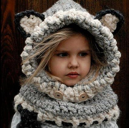 21d9687a10618 Amazon.com  Baby Kids Warm Winter Hats Cute Animal Crochet Knitted Earflap  Hood Hat Scarves Skull Cap with Fox Ears (M(3-8 years old)