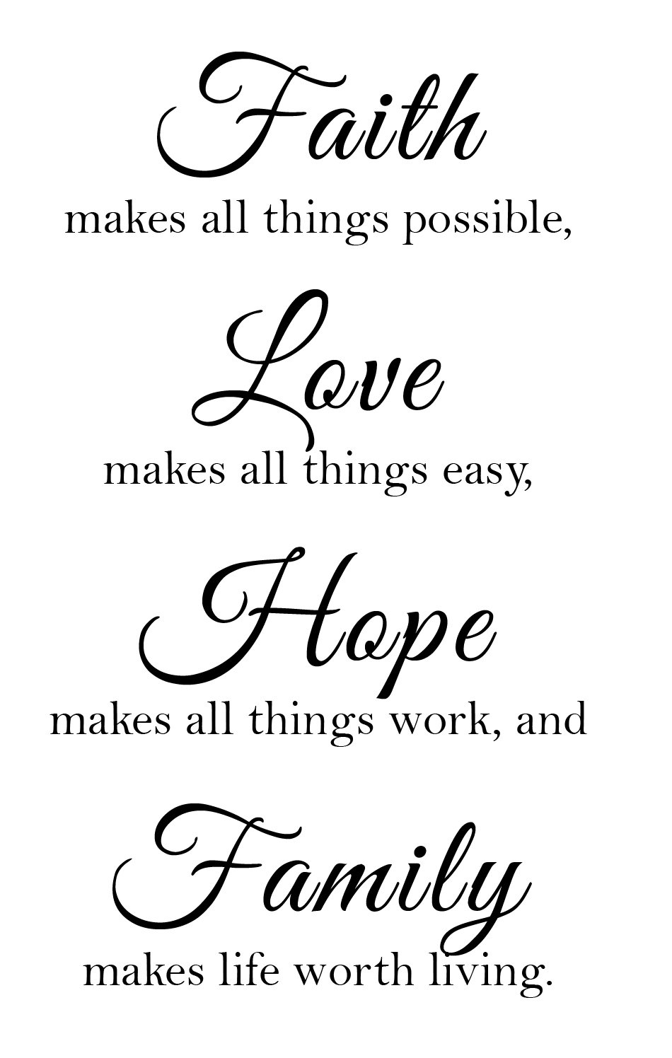 Newclew Faith Makes All Things Possible, Love Makes All Things Easy, Hope Make All Things Work, and Family Makes Life Worth Living Wall Art Sayings Sticker Décor Decal Prayer Church Jesus Pray