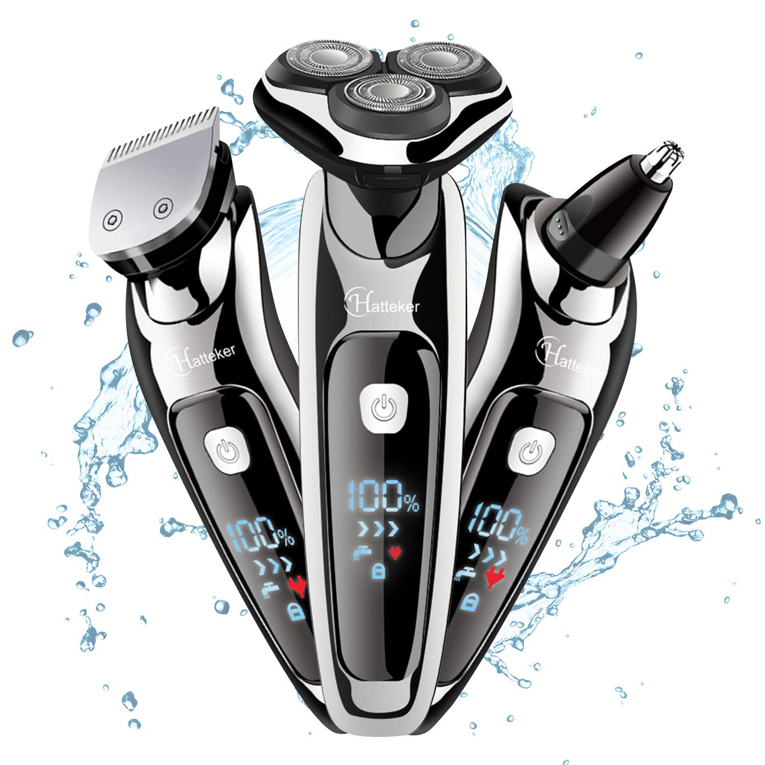 3 In 1 Mens Electric Shaver Razor Cordless Beard Trimmer Waterproof Rotary Shaver