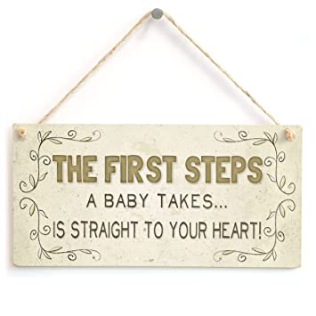Amazon.com: Wooden Hanging Sign The first steps a baby takes ...