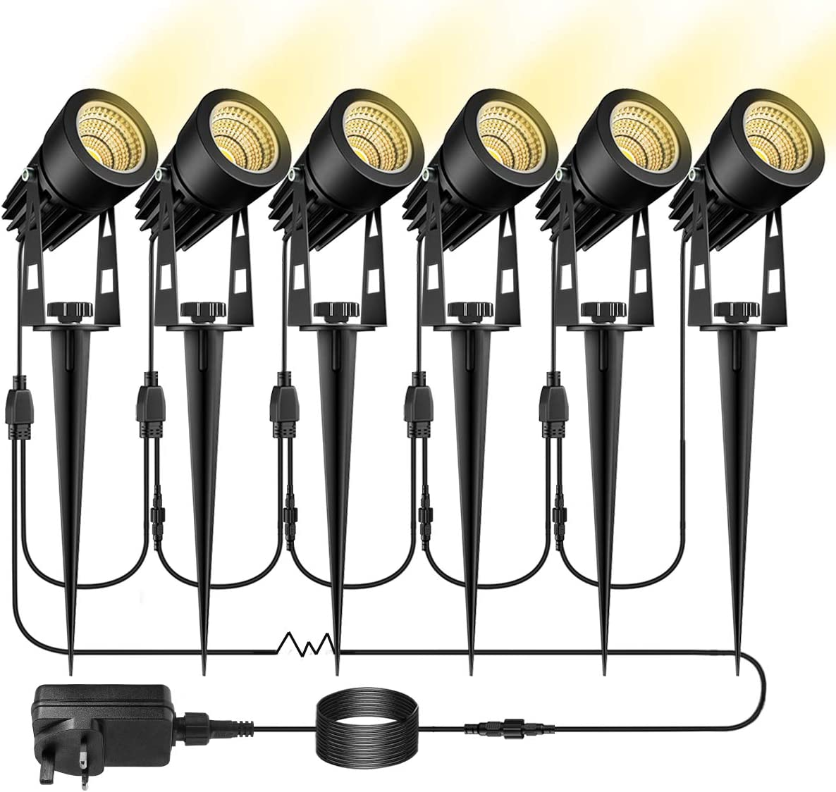 21m Garden Spotlights Extendable to 8 Spots ECOWHO 12v Garden Lights Mains Powered Low Voltage BS Aadapter Outdoor IP65 Waterproof Spike Light for Tree Wall Lawn Path Yard 18W