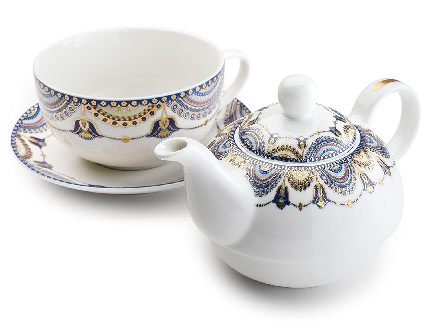 Pretty Little Teacups Tea For One Set in Gift Box White/Blue