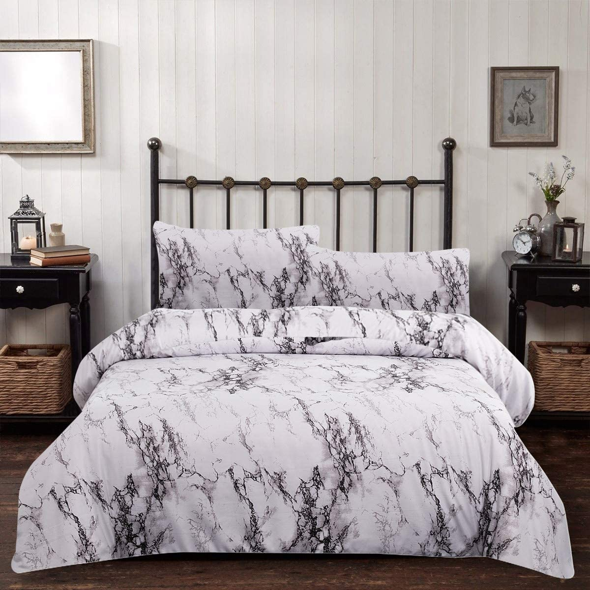 Amazon Com Marble Comforter Set Queen White Gray Marble Printed