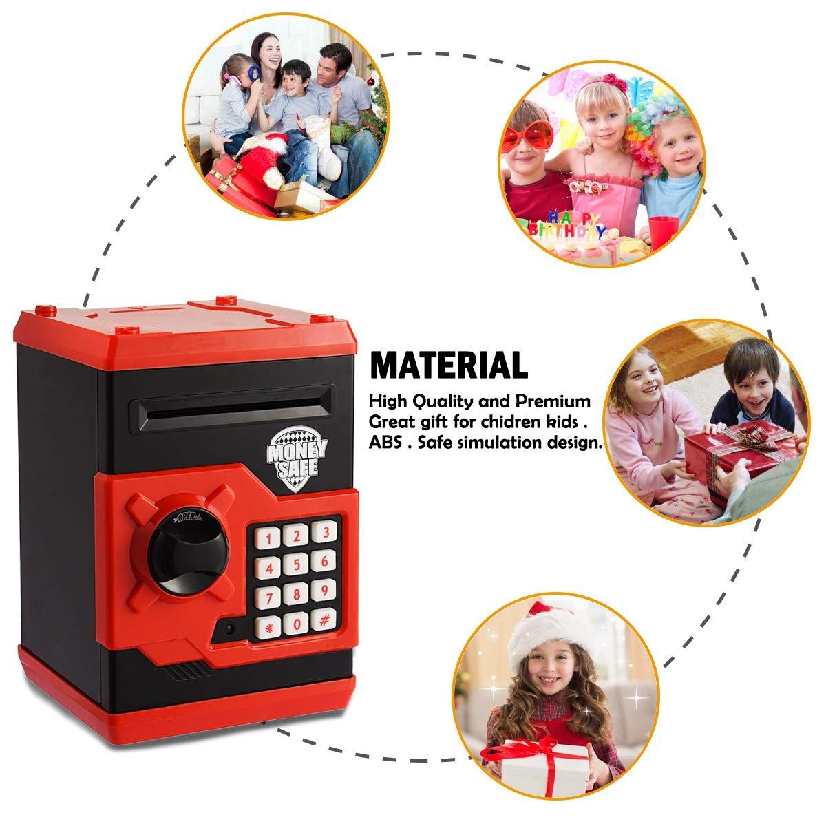 Tirelire /électronique Apuppy pour enfants bleu//blanc pour pi/èces et billets Un cadeau parfait pour les enfants petit coffre-fort avec combinaison