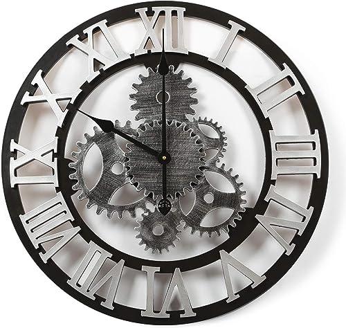 Adeco Clock 3D Retro Rustic Vintage Wooden Luxury Gear Noiseless Wall Clock, Wooden Decoration 22 Inch, Roman-Silver