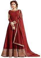 Palli Fashion Women's Pink Embroidered Anarkali Semi-Stiched Dress Material (Pink_Free_Size)