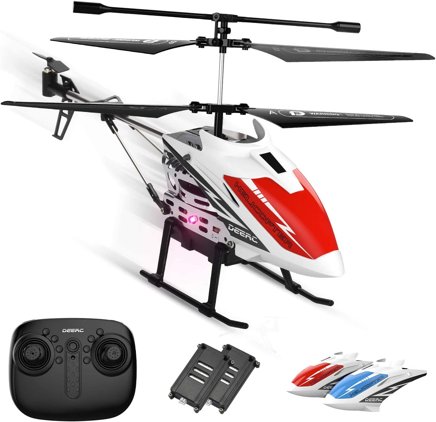 Amazon.com: DEERC DE51 Remote Control Helicopter Altitude Hold RC Helicopters with Gyro for Adult Kid Beginner,2.4GHz Aircraft Indoor Flying Toy with 3.5 Channel,High&Low Speed,LED Light,2 Battery for 20 Min Play: Toys &