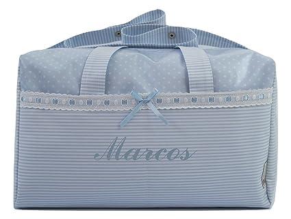 BOLSO MATERNAL PLASTIFICADO tipo maleta BORDADO CON EL NOMBRE DEL BEBÉ, Modelo Verona. Varios colores disponibles (Azul)