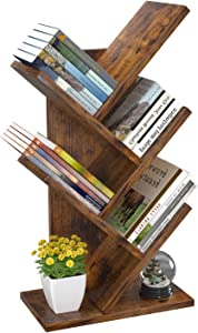 Tree Bookshelf, 4-Tier Book Storage Organizer Shelves Floor Standing Bookcase, Wood Storage Rack for Office Home School Shelf Display for Cd/Magazine/Book - Rustic Brown