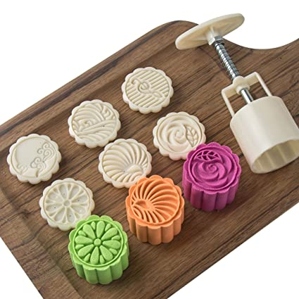 034ea2fe7 Moon Cake Mold with 6 Stamps - Mid Autumn Festival DIY Decoration Cookie  Press 50g Cake
