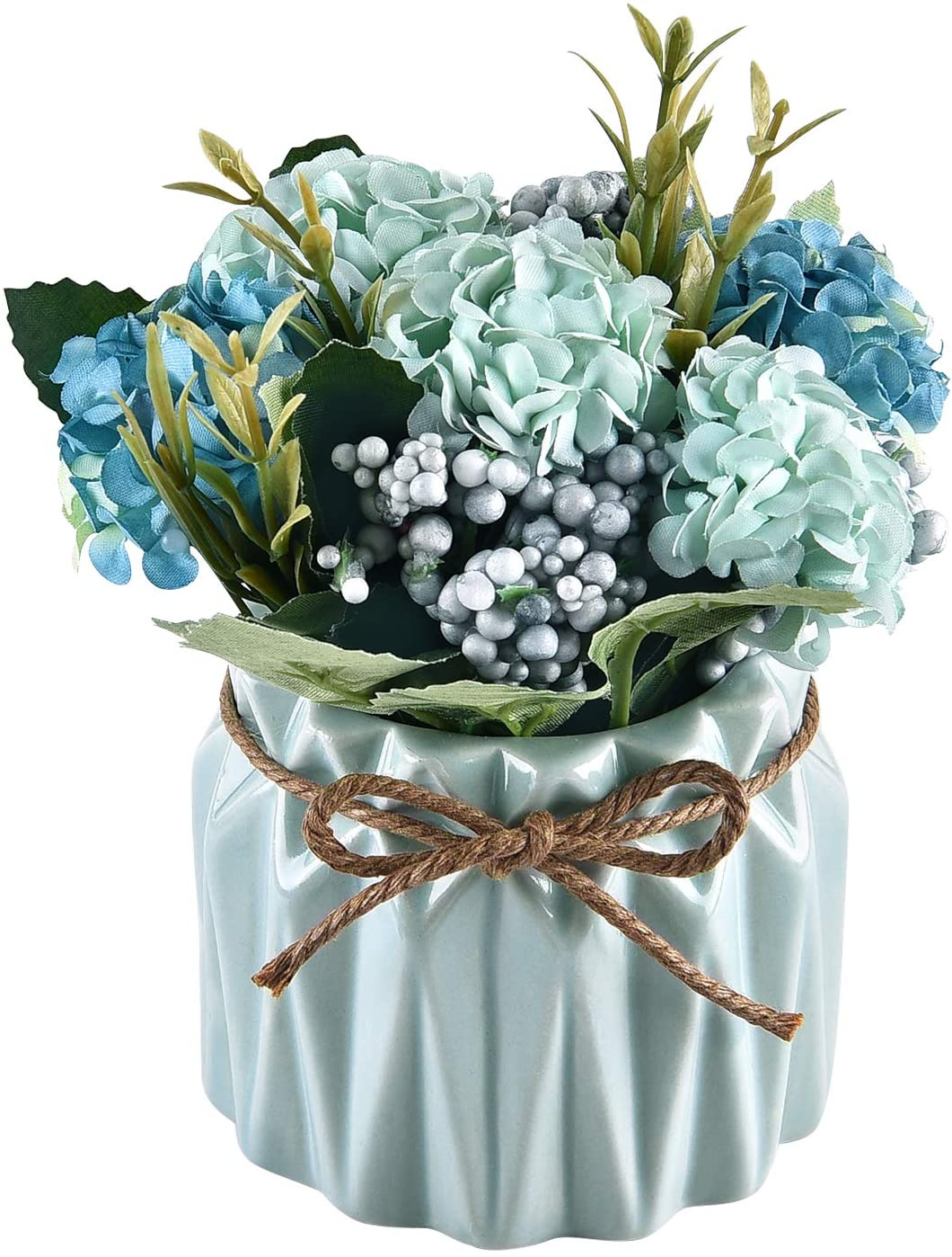 Shiny Flower Artificial Hydrangea Bouquet with Small Ceramic Vase Fake Hydrangea Flower Potted Artificial Fake Variety Silk Flower Bonsai for Home Party Wedding Office Table Decor, Blue