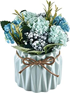 Sunm Boutique Artificial Hydrangea Bouquet with Small Ceramic Vase, Artificial Hydrangea Flower Potted Fake Variety Silk Flower Bonsai for Table Party Office Wedding Home Decor, Blue