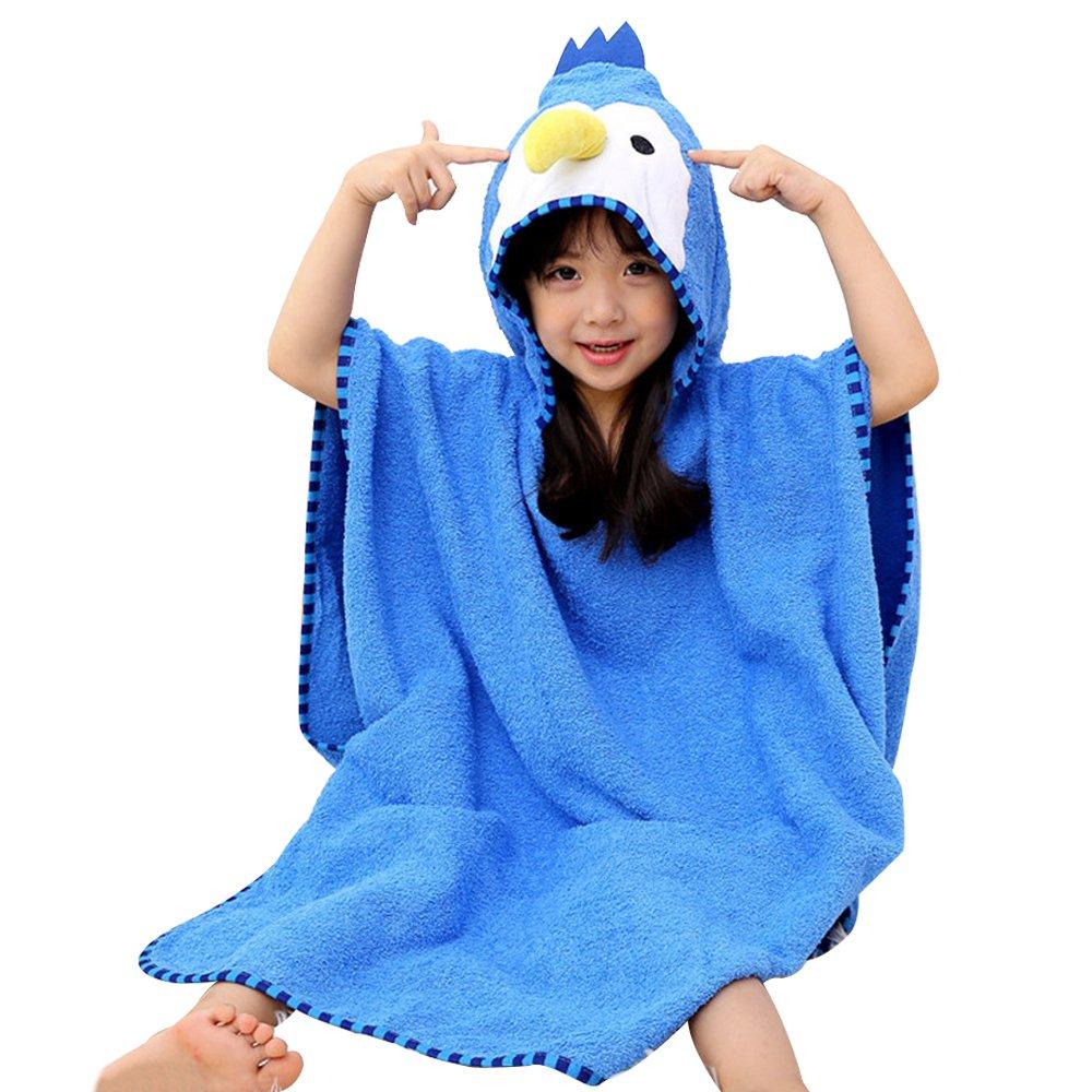 Luckym Kids Bathrobe Towel Cartoon Animal Hooded Bath Towel Natural Cotton Sleepwear Cute Loungewear Housecoat (woodpecker, M)