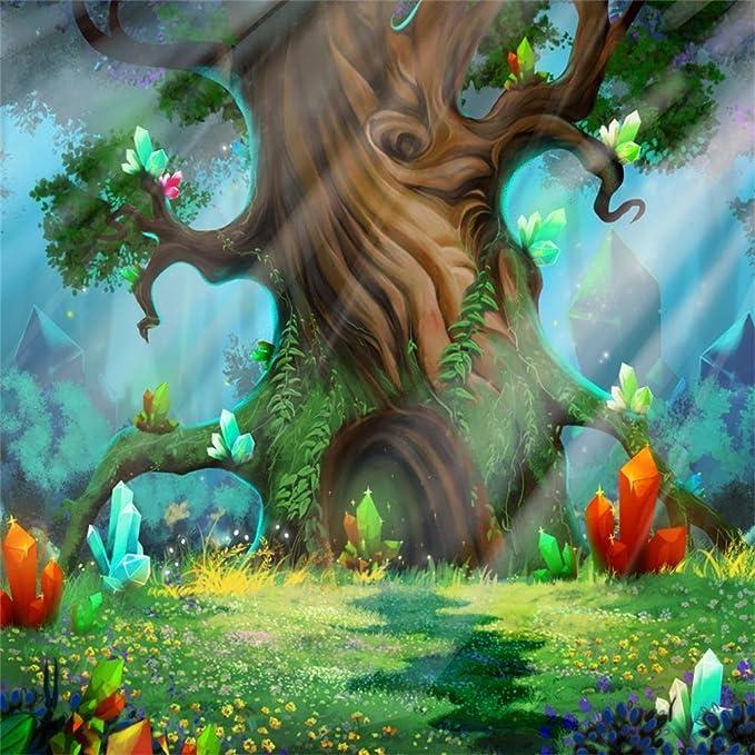 SZZWY 4x4ft Background for Dreamy Castle Photography Backdrop Fantasy Fairy Tale Prince Princess Forest Landscape Butterfly Wonderful Photo Studio Props Children Kid Portrait Wallpaper