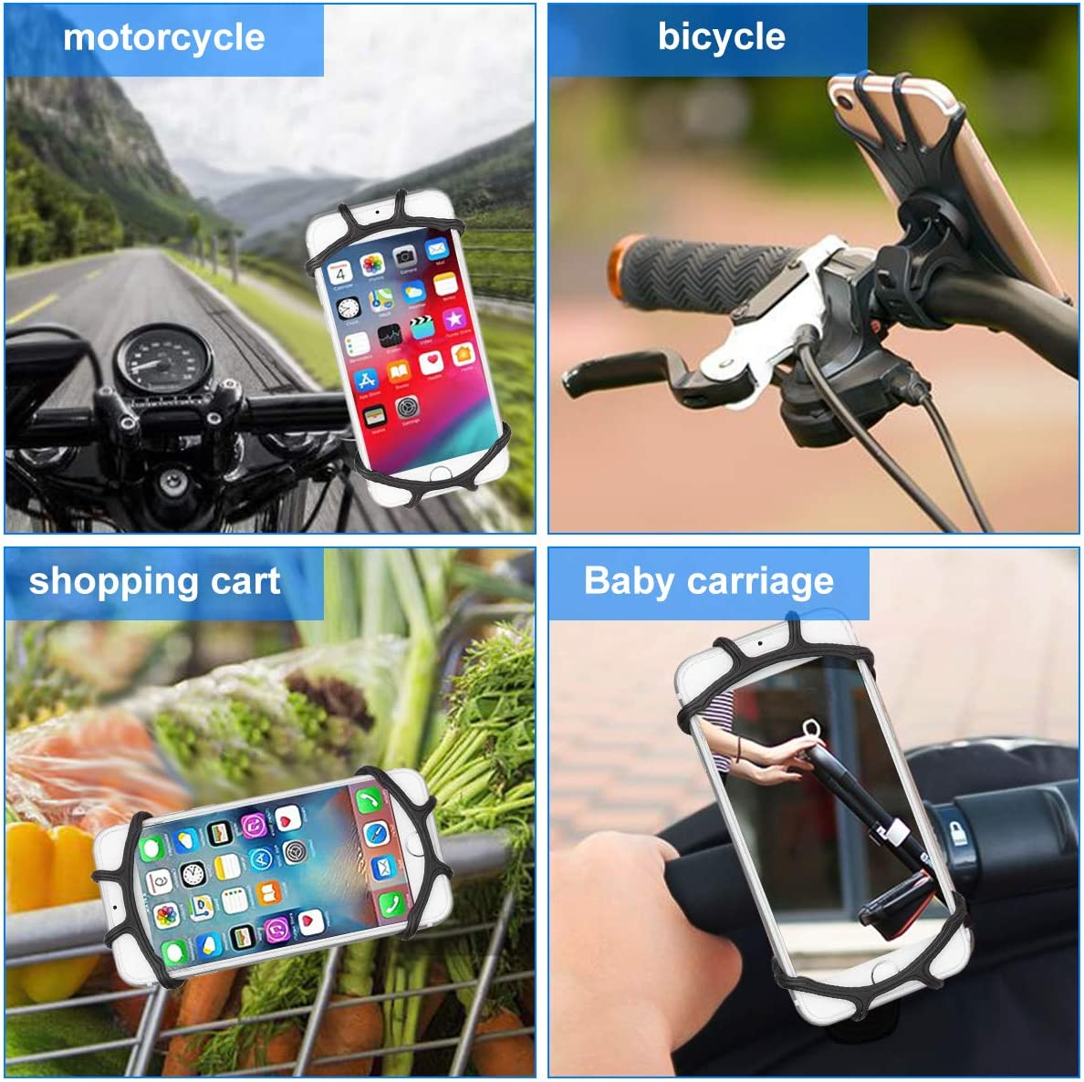 Bicycle /& Motorcycle Mobile Phone Holder Silicone Bike Phone Mount Compate with 4.0-6.5 Screen Mobile Phones and GPS Rotated 360 Degrees Perfect for Mountain Bike Scooter Stroller and Treadmill