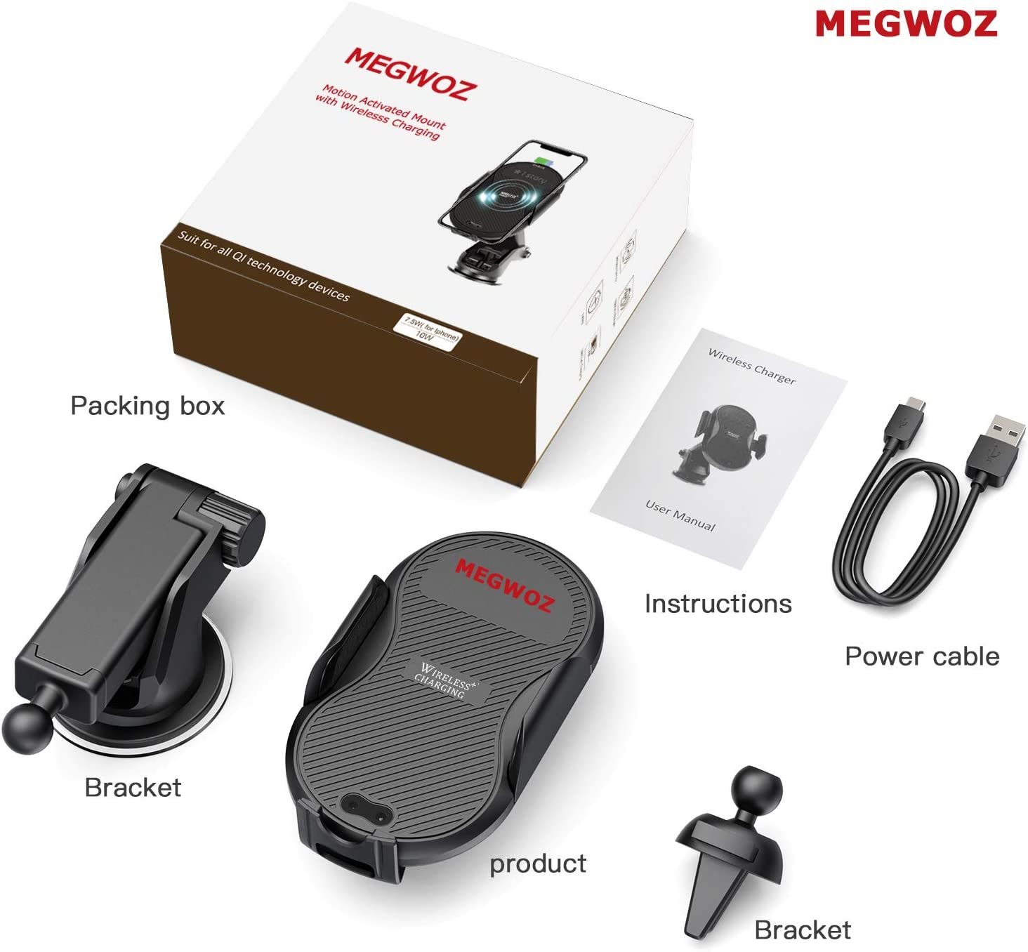 Samsung S10//S10+//Note9//S9//S9+//S8//S8+ /& Qi Devices Auto-Clamping Megwoz Wireless Car Charger Mount 10W//7.5W QI Fast Charging Compatible iPhone Xs//XS Max//XR//X//8//8+ Air Vent Dashboard Phone Holder