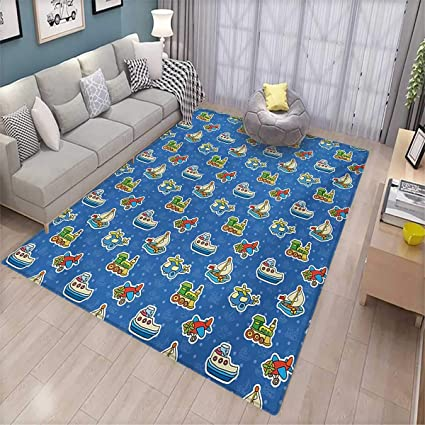 Kids Door Mats Area Rug Cute Toys Pattern Train Sail Boat Airplane Children Baby Playroom Art Design Bath Mat Non Slip 5 8 X7 6 Violet Blue Yellow Amazon Co Uk Kitchen Home