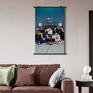 K-Pop BTS Poster Hanger Fabric Scroll Idol Bangtan Boys Scroll Hanging Wall Picture Decor