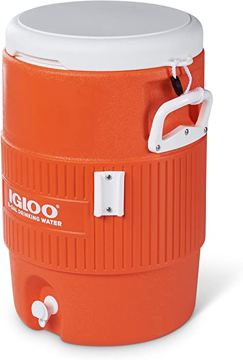 Igloo 5 Gallon Portable Sports Cooler Water Beverage Dispenser with Flat Seat Lid, Bright Orange