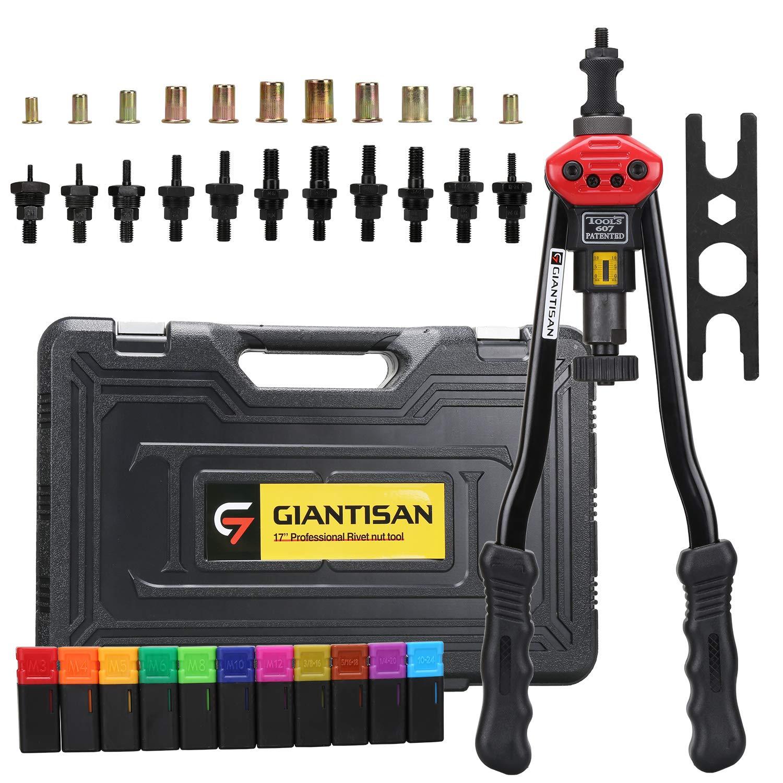 Giantisan 17'' Rivet nut tool, Professional rivet nut tool setter kit including 11 Metric and SAE Mandrels, 110Pcs Assorted Rivet Nuts, Effortless design, Rugged Carrying case by Giantisan