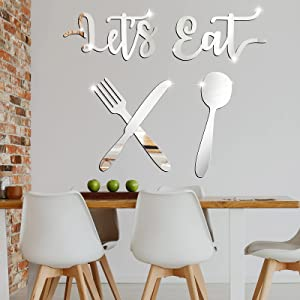 5 Pieces Let's Eat Sign 3D Acrylic Mirror Wall Decor Stickers, Fork Spoon Knife Sign Acrylic Mirror Decor, DIY Mirror Stickers Removable Mural Stickers for Home Dining Living Room Bar Cafe