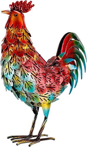 Rooster Decor for Home Metal Chicken Outdoor Statues for Garden Yard Art Led Rooster Sculptures