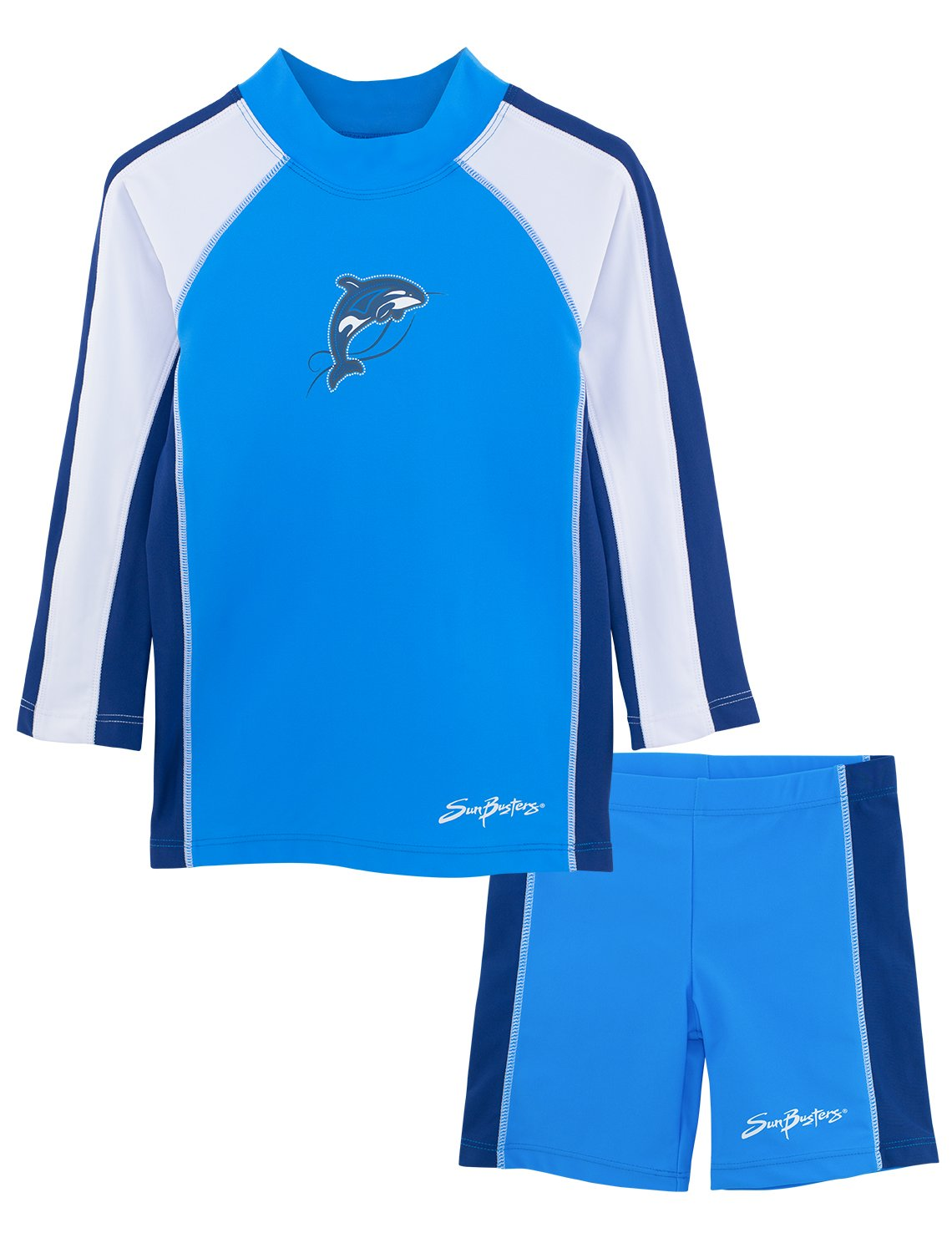 SunBusters Boys Two-Piece Long Sleeve Swimsuit Set, UPF 50+ Sun Protection Plangea