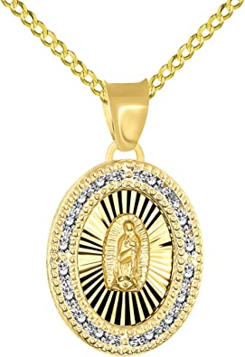 14k White And Yellow Gold CZ Religious Guadalupe Pendant Charm