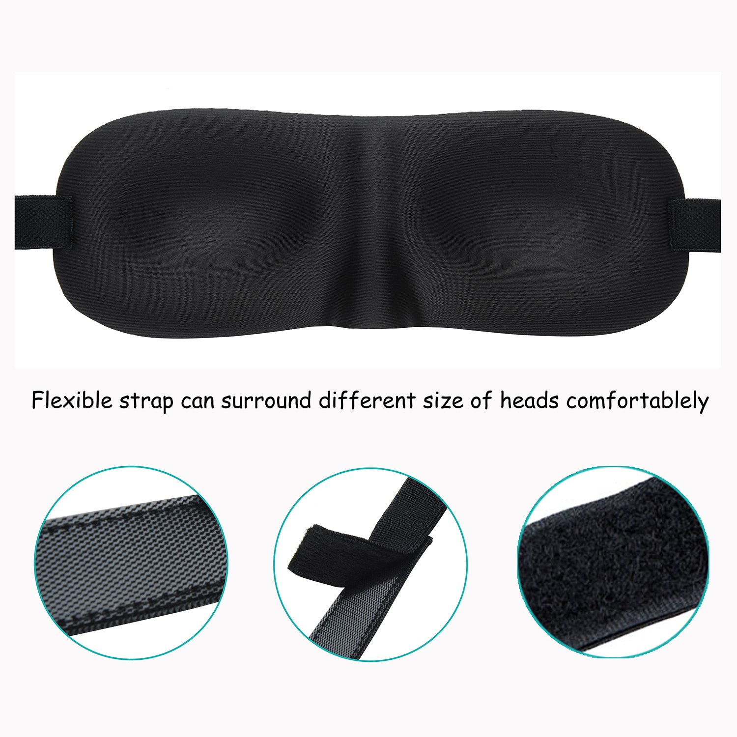 Eye Mask for Sleeping, CHC 3 Pack Sleep Mask with Adjustable Strap 3D Contoured Shape Good Night Eyeshade for Women, Men, Soft Blindfold Great for Travel Naps, Meditation
